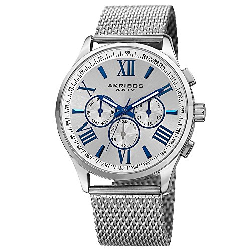 Akribos XXIV Men's AK844SS  Round Silver Radiant Sunburst Dial Two Time Zone Quartz Staniless Steel Bracelet Watch