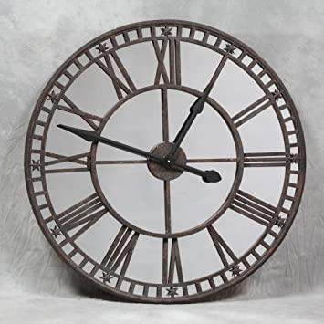 Large Unusual French Iron Mirrored Rustic Steeple Wall Clock