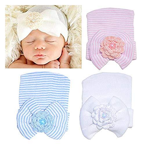 (DRESHOW BQUBO Newborn Hospital Hat Infant Baby Hat Cap with Big Bow Soft Cute Knot Nursery Beanie Pack 3)
