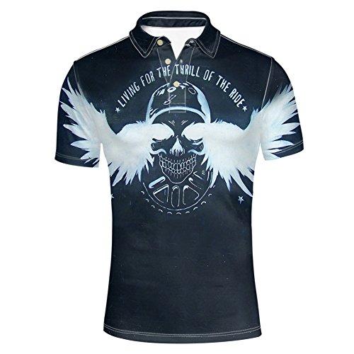 HUGS IDEA Skull Print Men's Golf Polos Shirt Fashion Hipster Punk T-Shirt Tee Summer Short Sleeve