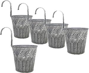 Leoyoubei Vintage Feel 4.25''Diameter-5 Pack Metal Iron Flower Pot Vase Wall Fence Hanging Balcony Garden Patio Planter Home Decor-Artificial Flower pots Vase Decoration Gray