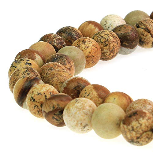 JARTC Natural Stone Beads Picture Jasper Round Loose Beads for Jewelry Making DIY Bracelet Necklace (4mm)