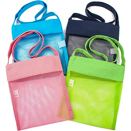 Narwey Mesh Shell Bag for Picking up Shells Collecting Seashells Beach for Kids 4pcs (Multicolor)