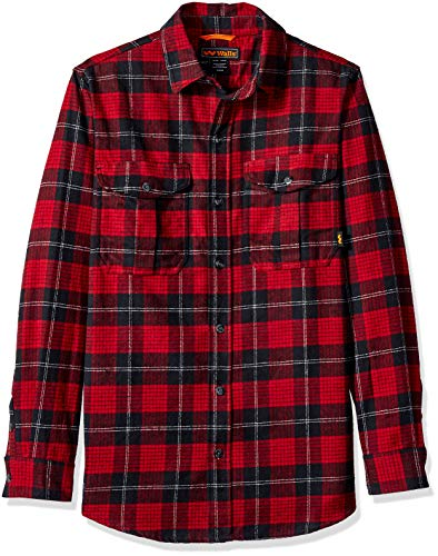 Walls Men's Heavyweight Brushed Flannel Shirt, red/Black Plaid, Extra Large
