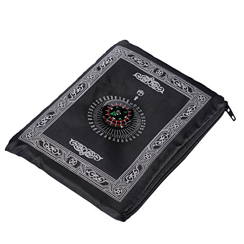 Hitopin Portable Black Color Muslim Prayer Rug with Compass Pocket Size Prayer Mat ompass Qibla finder with Booklet Waterproof Material HP-PMBk - Prayer Carpet
