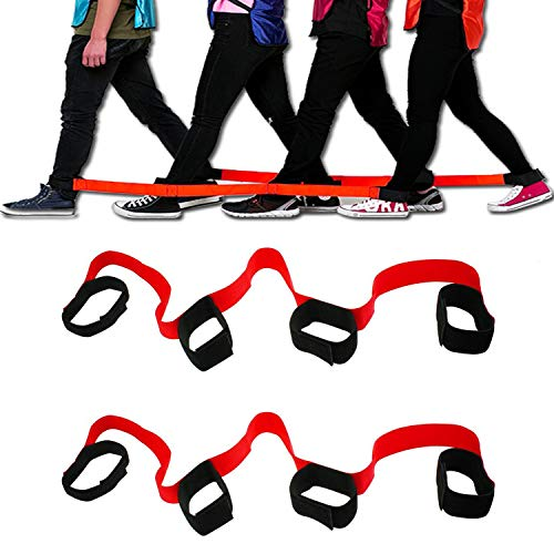 CSPRING 2 Pieces 4 Legged Race Bands Cooperative Band Walker Activities Teamwork Training for Kids Adults Outdoor Race Games ()
