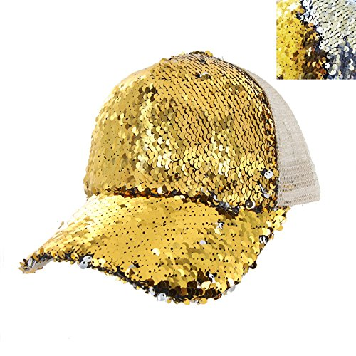 - Baseball Cap with Double Sided Sequins Everyday Bling Mesh Trucker Plain Baseball Ball Cap in Gold