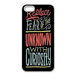 Replace Fear With Curiosity iPhone 4 4s Cell Phone Case White DIY present pjz003_6466799