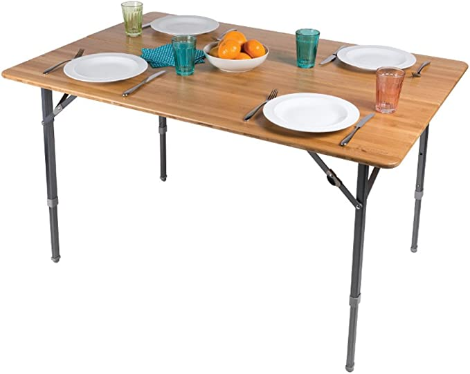 Qeedo Kimmy camping table with bamboo tabletop and adjustable legs