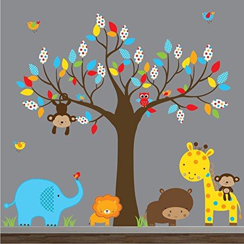 Jungle Nursery Wall Art-Wall Decal-Wall Sticker-Tree Decal with Animals-Nursery Wall Decals-Lion, Giraffe , Elephant, Birds, (Giraffe Lion Bird)