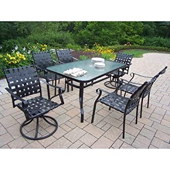 Oakland Living Web 7 Piece Dining Set With Swivels And 60 By 36 Inch