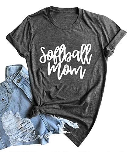 EGELEXY Softball Mom Letter Print T-Shirt Womens O-Neck Short Sleeve Top Tee Funny Softball Print Blouse Size XL (Gray) ()