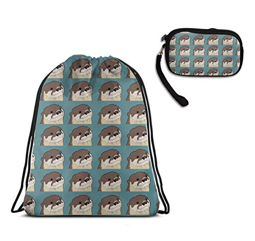 Men & Women Gym Gym Drawstring Backpack, Folding Large Otter Pattern Shoulder Backpack, Water Resistant, Home Travel Storage Use + Luxury Clutch Bag -