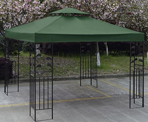 Heavy Duty Wedding Party Tent Pop Up Canopy Gazebo Waterproof Patio Shelter 10' x 10' Canopy Top Replacement Cover 2 Tier Green (Party Tent Top)