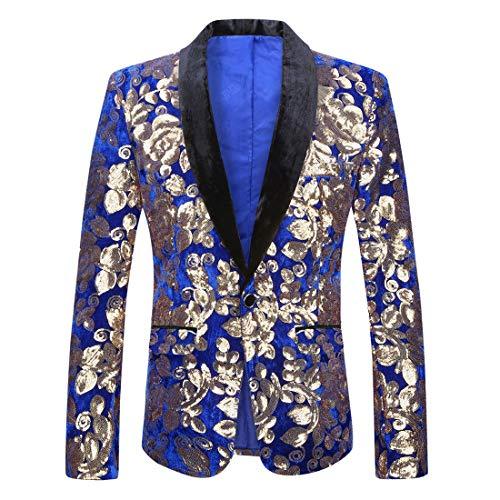 PYJTRL Men Fashion Velvet Sequins Floral Pattern Suit Jacket Blazer (Blue 01, L/42R)