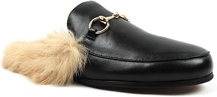 Mens Backless Slip On Real Leather Faux