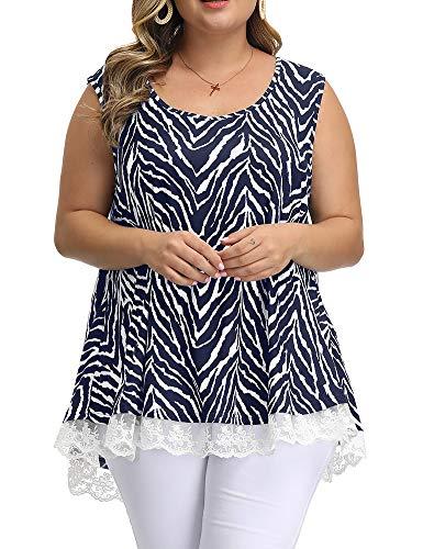 (Allegrace Women Plus Size Summer Lace Tank Tops Floral Casual Flowy Loose Sleeveless Tunic Cami Shirts P49 Zebra-Stripe Dark Blue)