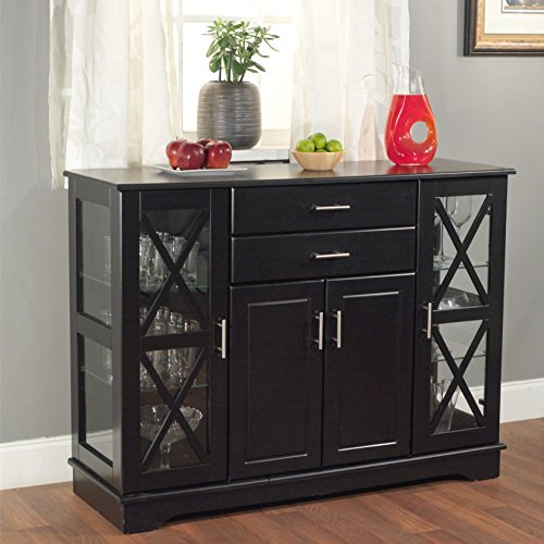 Wooden Buffet with Two Drawers X Style Door with Two Adjustable Tempered Glass Shelves One Adjustable Shelf for Living Room Transitional Classic Traditional Decor Home Furniture Cabinet Black Finish
