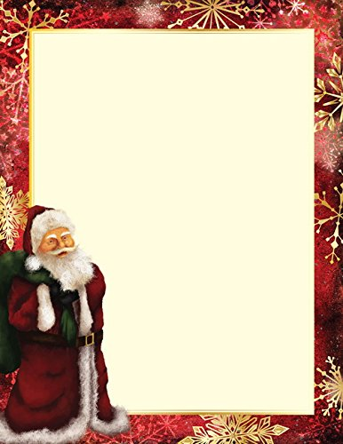 Geographics Classic Santa Christmas Letterhead, 8.5 x 11 Inches, Gold Foil, 40-Sheet Pack (49742W) (Christmas Geographics Paper)