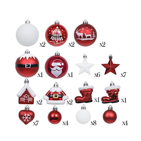 Valery Madelyn Palle di Natale 50 Pezzi di Palline di Natale, 3-5 cm Decorazione Tradizionale Rossa e Bianca Infrangibile con Palle di Natale per la Decorazione Dell'Albero di Natale 2 spesavip