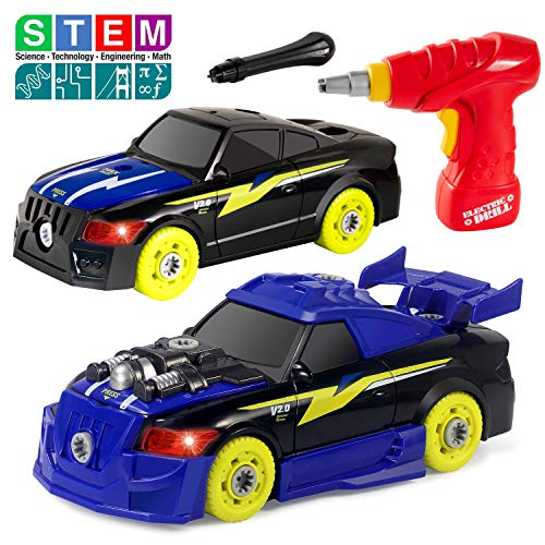 Take Apart Racing Car Toys with Drill Tool, STEM 26 Pieces Racing Car Toy Kit Vehicle Assembly Set with Lights & Engine Sounds, Building Your Own Car Toy Set Gifts for Kids, Boys & Girls