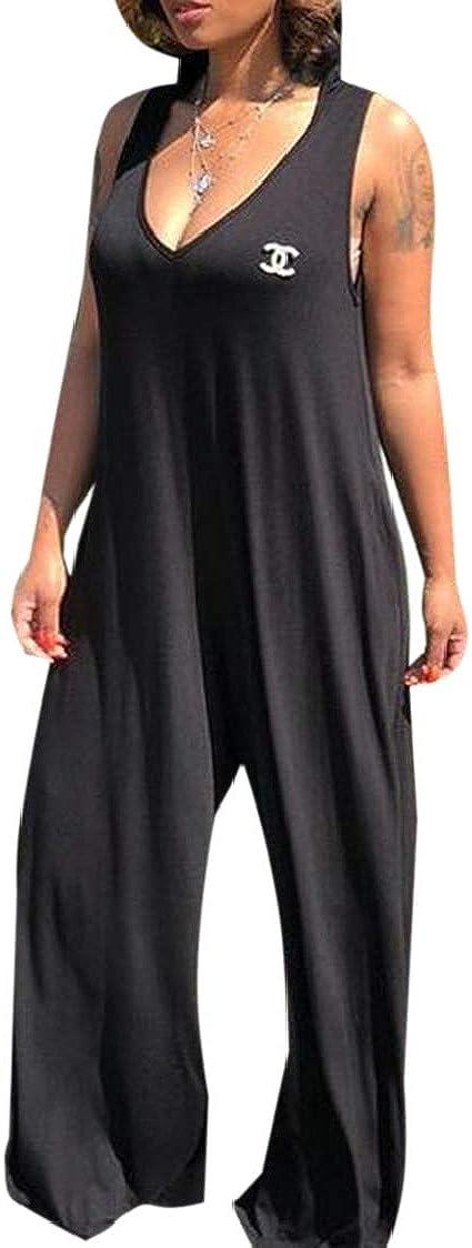 SELX Women Pockets Hoodie V-Neck Sleeveless Solid Wide Leg Jumpsuit Romper