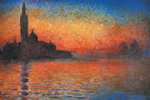San Giorgio Maggiore at Dusk Sunset in Venice by Claude Monet Art Print Poster
