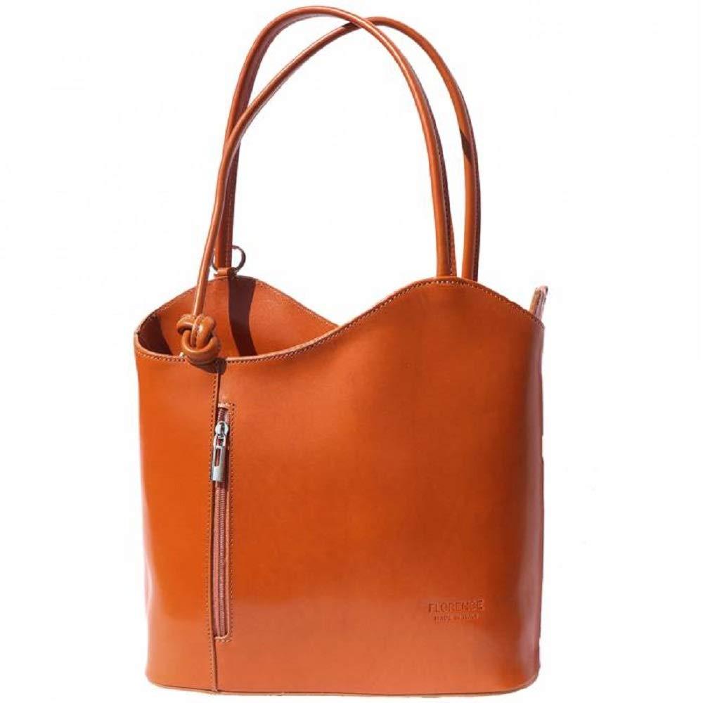 LaGaksta Easy Carry Italian Leather Convertible Backpack Shoulder Purse Medium Tan Cognac