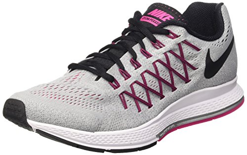 Nike Wmns Air Zoom Pegasus 32, Zapatillas de Running Para Mujer Gris (Wolf Grey / Black-Vivid Pink)
