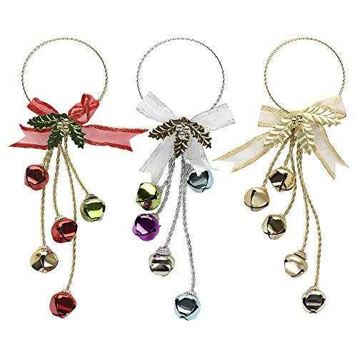 RTWAY 13.2'' Christmas Door Hangers Set of 3 Jingle Bell Door Hanger with Bow for Christmas Decorations - Gold Bell Ornament