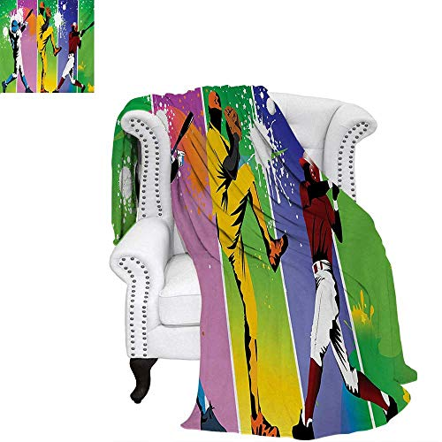 (warmfamily Baseball Summer Quilt Comforter Players in Different Positions in Playground Action Catcher Pitcher Modern Sports Digital Printing Blanket 60