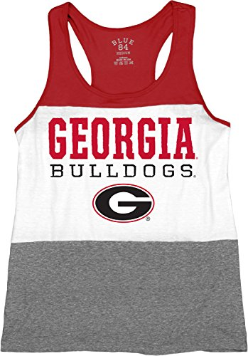 Blue 84 NCAA Georgia Bulldogs Tri-Blend Panel Tank Top, Red, (Georgia Bulldogs Top)