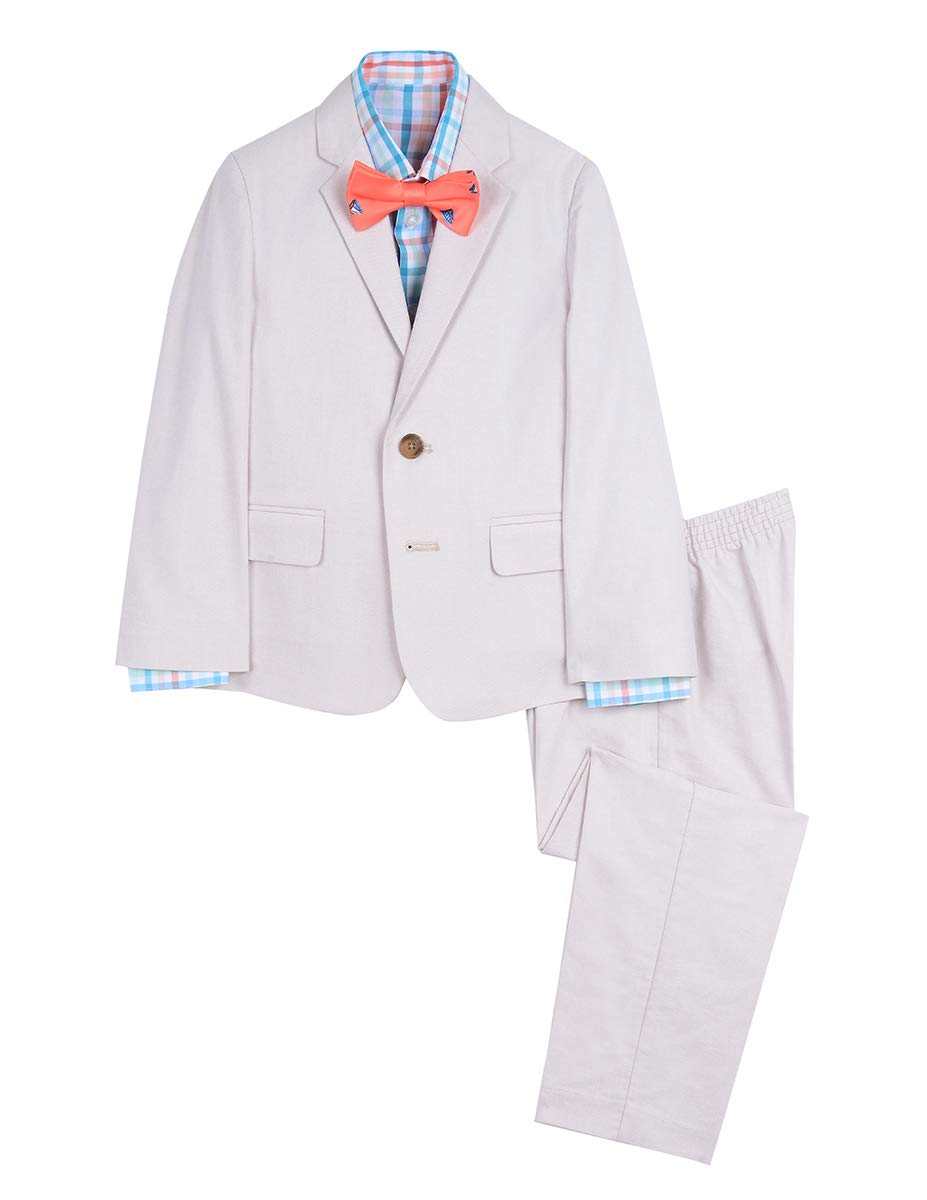 Nautica Boys' Toddler 4-Piece Formal Dresswear Suit Set with Bow Tie, Gingham Khaki, 2T