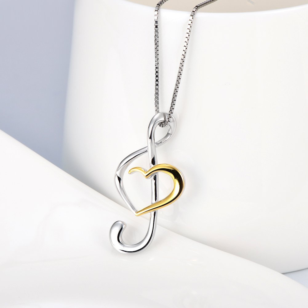 silver sterling necklace note charm musical inch music pendant