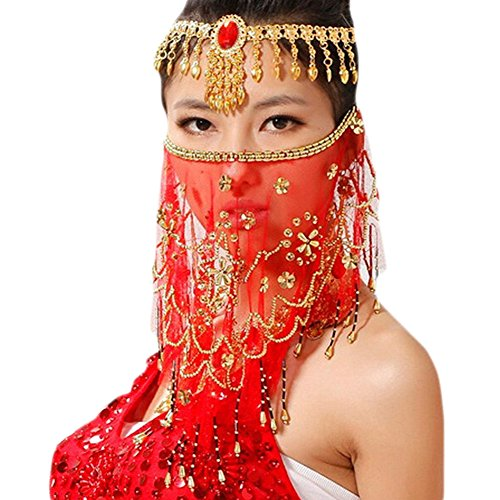 Saymequeen Women Beaded Belly Dance Face Veil Lady Beautiful Costume Accessory (red)