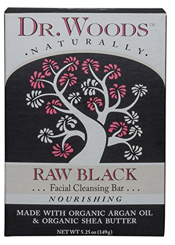 Dr Woods Black Soap (Dr. Woods Facial Cleansing Bar Soap with Organic Shea Butter, Raw Black, 5.25 Ounce)