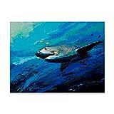 art shark - Trademark Fine Art the Mighty Bull Shark by Jace D. Mctier D, 24x32-Inch, Multicolor