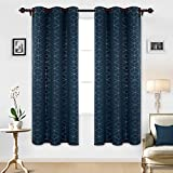 Deconovo Sliver Diamond Foil Print Grommet Window Panels Thermal Insulated Blackout Curtains for Kids' Room 42×84 Inch Navy Blue 2 Curtain Panels For Sale
