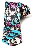 Trendy Skinny Tie - Black with Neon White Blue Pink Skulls