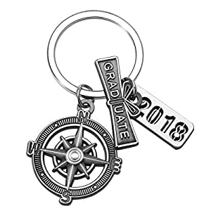 """Graduation Keychain with Scroll, """"2018"""" Charm and Compass - Graduation Gifts for Him"""