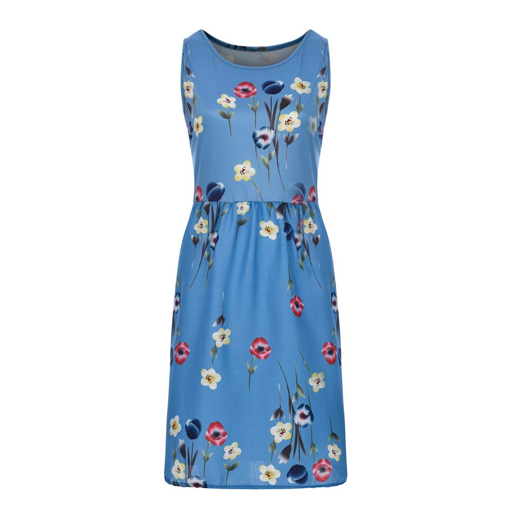 M-5XL Woman Sexy Oversize Floral Print Dresses Casual Strap Plus Size Pendulum Skirts Fashion Sleeveless Loose Beach Clothes (Blue, X-Large)