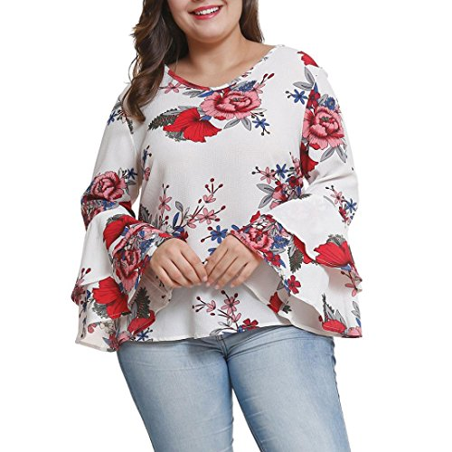 Plus Size Women's Bell Sleeve Loose Polka Flower Shirt Casual Blouse Tops