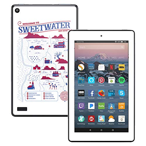 MightySkins Skin for Amazon Kindle Fire 7 (2017) - Sweetwater Map | Protective, Durable, and Unique Vinyl Decal wrap Cover | Easy to Apply, Remove, and Change Styles | Made in The USA ()