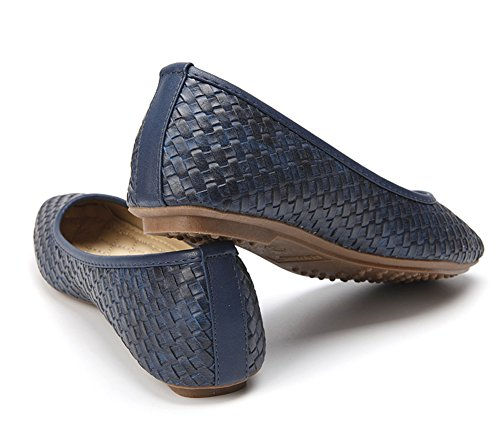 Aisun Womens Retro Comfy Woven Slip On Flats Shoes Blue Q7Oy8h