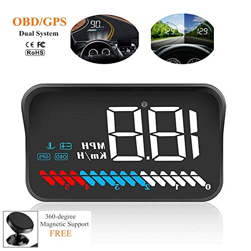 - Car Universal Dual System HUD Head Up Display OBD II/GPS Interface,Vehicle Speed MPH KM/h,Engine RPM,OverSpeed Warning,Mileage Measurement,Water Temperature,Voltage