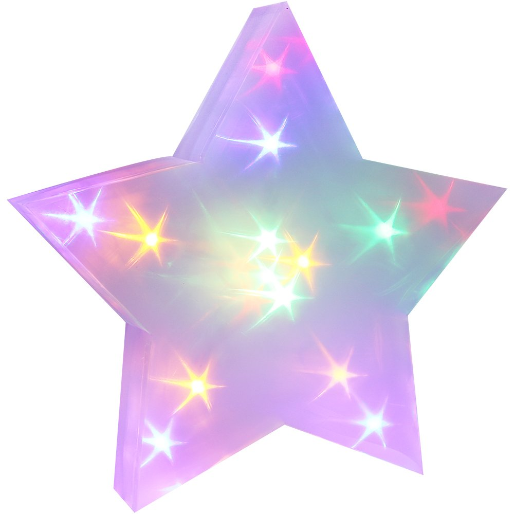 com-four® LED 3D Stern mit Hologramm Effekt und integrierter Lichterkette Multicolor, Batteriebetrieben, 35 x 10 cm (01 Stück - 35x10cm)