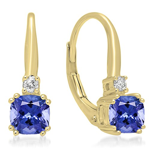 Dazzlingrock Collection 14K 5 MM Each Cushion Cut Gemstone Round Diamond Ladies Dangling Drop Earrings, Yellow Gold