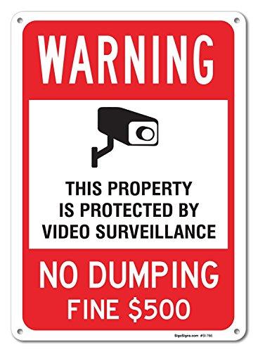 Video Surveillance No Dumping Fine $500 Sign, Large 10