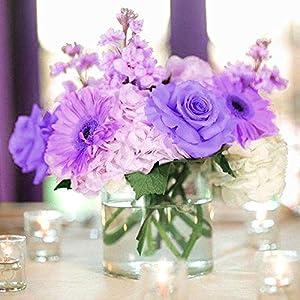 BalsaCircle 84 Lavender Silk Open Roses - 12 Bushes - Artificial Flowers Wedding Party Centerpieces Arrangements Bouquets Supplies 4