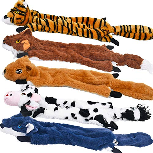 Dog Squeaky Toys 5 Pack, Pet Toys Crinkle Dog Toy No Stuffing Animals Dog Plush Toy Dog Chew Toy for Large Dogs and…